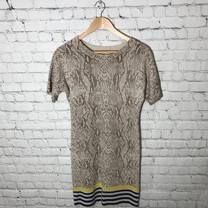 LOFT Merino Wool Sweater Dress Snake Skin Print